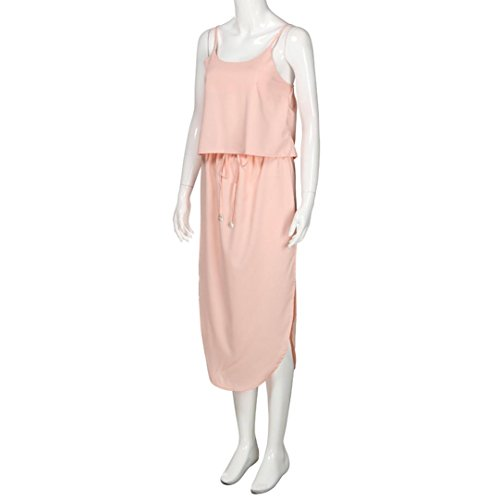JIANGFU [Mode Damen Blusen Oberteile Elegante Shirt Hemd Tops] Lässige Zweiteiler Frauen Sexy Trägerlosen Strap Unregelmäßigen Kleid Frauen Sommer Rosa 5VQJn6