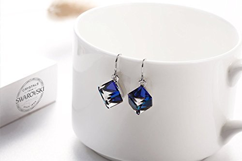 Swarovski Element Earrings Cube Earrings Color Changing Crystals Heart Of Ocean Blue Drop Dangle Earrings, Birthday Birthstone Jewelry Gifts for Women by PLATO H (Image #3)