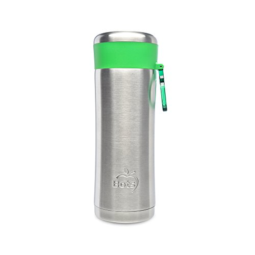 LunchBots Insulated Kids Water Bottle (12oz) - Keeps Drinks Cold for 24 Hours - Lightweight Stainless Steel - Double Walled, Dishwasher Safe and Durable - Green