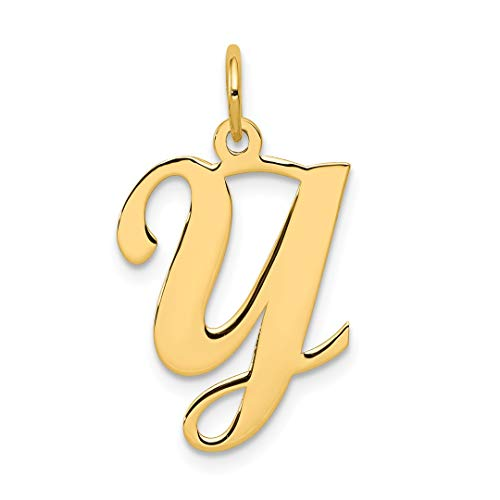 (14k Yellow Gold Initial Monogram Name Letter Y Pendant Charm Necklace Fine Jewelry Gifts For Women For Her)