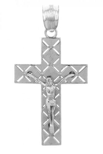 925 Argent Fin Crucifix Pendentif - La Crucifix
