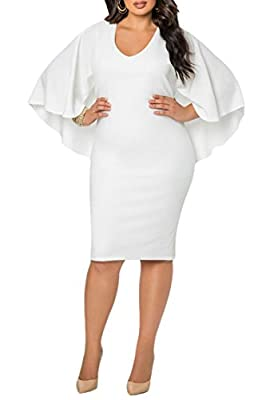 LaSuiveur Women's Batwing Sleeve V Neck Solid Bodycon Plus Size Dress
