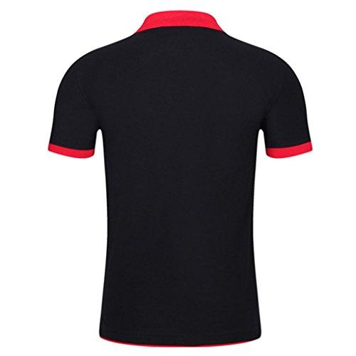 Button Hommes shirt Avancé Adeshop Tops Couleur Comfy Colorblock Fitness Des Blouse Sports Slim Revers Pure Manches Noir Courtes T Et qpdpTwv0
