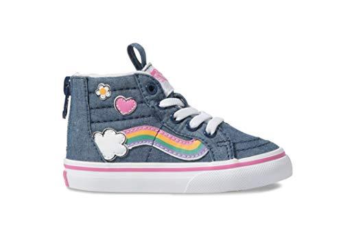 Vans Girl's Toddler Sk8 Hi Zip Rainbow Sidestripe Skate Shoes (7 M US Toddler, Denim/True White)]()