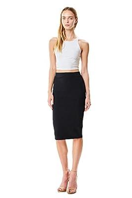 MoDDeals Women's Regular, Plus Size Knee Length Basic Stretch Bodycon Pencil Skirt Office Work