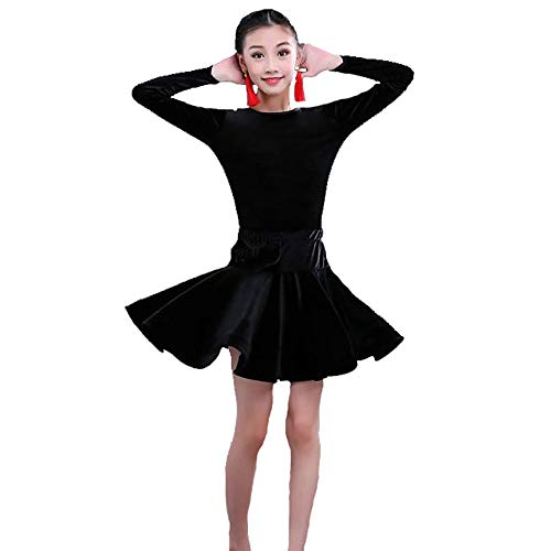 Dance costumes - children's Latin dance skirts practice clothes competition test level precisely sets the standard clothing children's Latin dance performance clothing ( Color : BLACK , Size : 170cm ) for $<!--$43.88-->