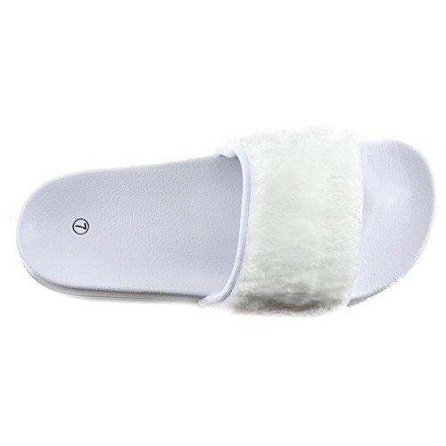 Womens Fashion Damen Licht Flip-Flops Bequemen Slip auf Sommer-Strand-Sandalen Weiß