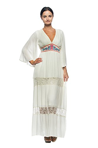 [Women's Plus Ivory Mexican Folk Embroidery Empire Peasant Gown Long Maxi Dress (3XL)] (70s Maxi Dress)