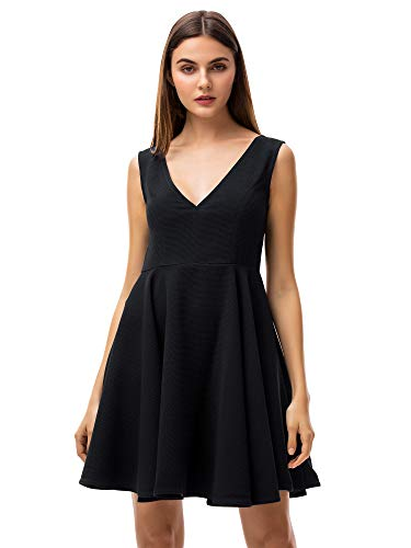 (MessBebe Women's V Neck Cocktail Dresses Summer Sleeveless Vintage Dress for Petite Women A-Line Party Night Out Dress(Black, XS))