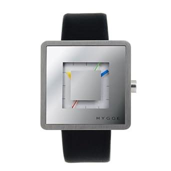 Hygge 2089 Unisex Quarzuhr mit Silber Zifferblatt Analog-Anzeige und schwarz Lederband msl2089ch (M)