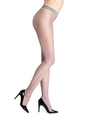 Marilyn Designer Tights w/Polka Dot Pattern Pantyhose (Grey, M)