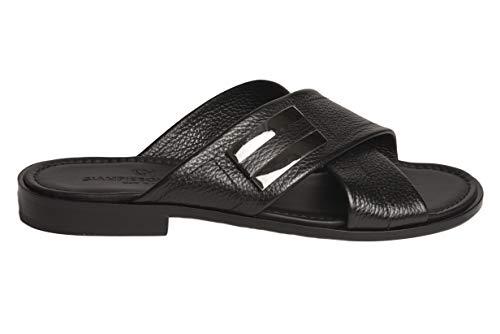 Giampieronicola5362 Italian Mens Black Leather Criss Cross Sandals with Design