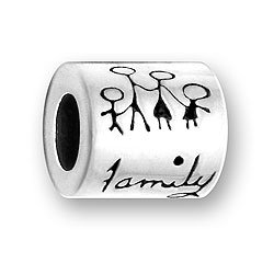 Pewter Family Message Bead Fits Pandora Bracelet