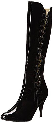 Dream-2026 Lack Overknee-Stiefel mit spitzen Zehen und der Ferse schwarz - (44 EU = US 13) - Pleaser Rosa-Aufkleber