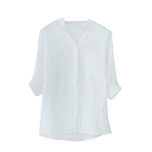 Kixing TM Women Loose Cotton and Linen Sleeves Collar Shirt Tops (White, L) (Gauze White)
