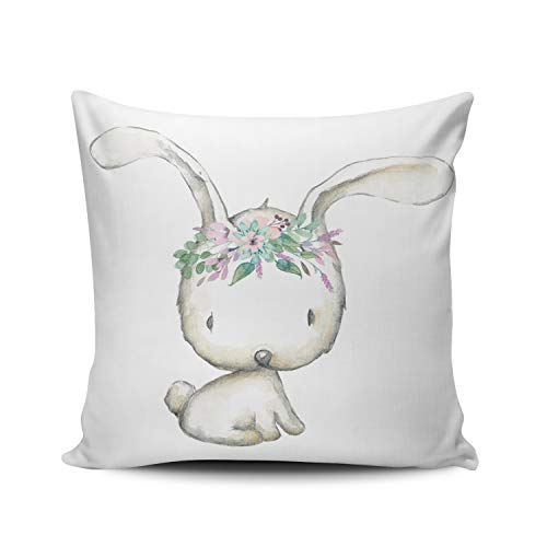 Fanaing Gray and White Purple Woodland Boho Bunny Rabbit Nursery Pillowcase Home Sofa Decorative 18X18 inch Square Throw Pillow Case Decor Cushion Covers One-Side Printed