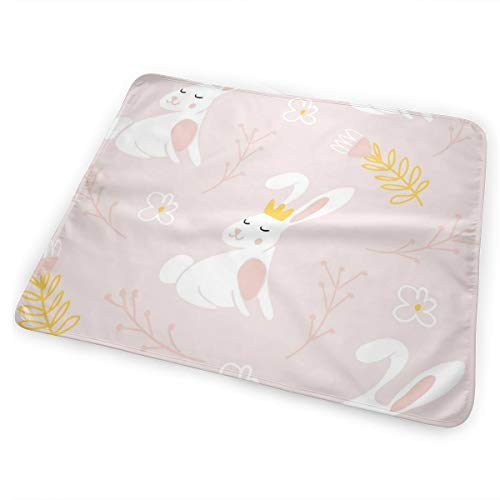 Pamdart Cute Bunny with A Crown Customized Waterproof Leakproof Replacement Diaper Pad Reusable for Unisex Baby