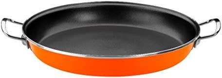 Monix Mandarina - Paellera 36 cm de acero esmaltado naranja con antiadherente Teflon® Classic.