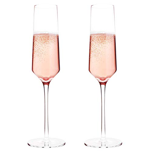 Classy Champagne Flutes by Bella Vino - Hand Blown Crystal Champagne Glasses Made from 100% Lead Free Premium Crystal Glass, Perfect for Any Occasion,Great Gift, 10', 7 Oz, Set of 2, Clear