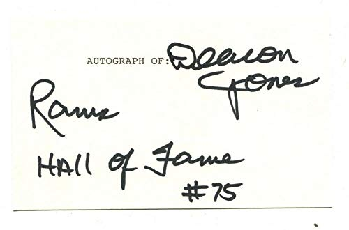 Deacon Jones Signed Autographed 3 X 5 Index Card Los Angeles Rams 45841
