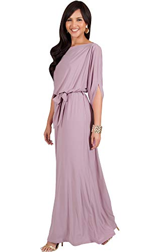 KOH KOH Plus Size Womens Long Flowy Casual Short Half Sleeve with Sleeves Fall Winter Floor Length Evening Modest A-line Formal Maternity Gown Gowns Maxi Dress Dresses, Dusty Pink XL 14-16
