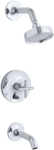 KOHLER K-T14420-3E-CP Purist Rite-Temp Pressure-Balancing Bath and Shower Faucet Trim, Valve Not Included, Polished Chrome ()