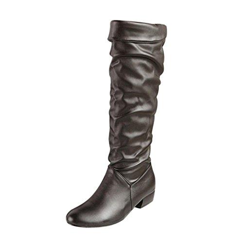 Stiefeletten Damen Profilsohle Damen Winter Schwarz DEELIN Optik Reitstiefel Leder Tube Stiefel High Kniehohe Schuhe Flat Heels 6qwFEMqp