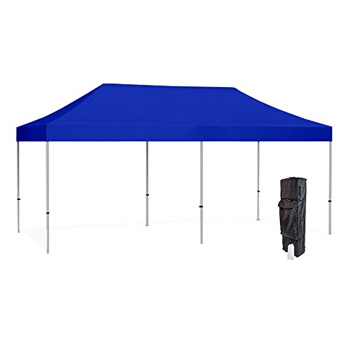 Frame Aluminum 10ft (Vispronet 10x20 Blue Canopy Tent Kit – Resists up to 30mph Wind Gusts – Includes Commercial Grade Aluminum 10ftx20ft Tent Frame, Water-Resistant Canopy Top, Roller Bag, and Stake Kit)
