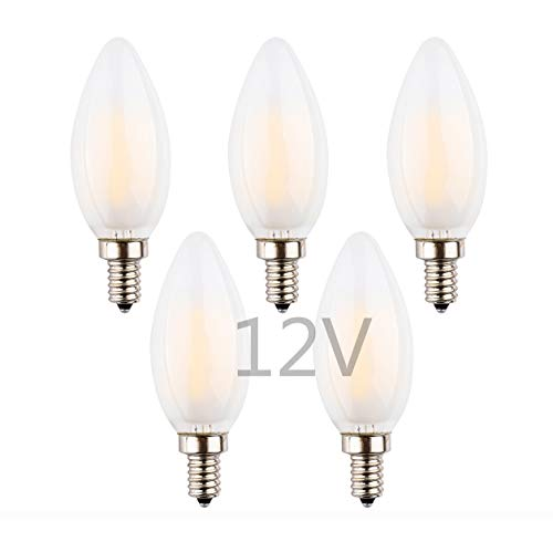 - OPALRAY Low Voltage DC/AC 12V 24V Candelabra LED Bulb, Dimmable with DC Dimmer, 2W 200Lm, Warm White, E12 Small Base, 25W Incandescent Equivalent, 12Volt Power Grid, Frosted Glass Torpedo Tip, 5 Pack