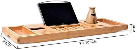 バスタブスタンド バース棚のような適切なタブレット電話スロット、カップHolder-で拡張可能バスタブキャディバスルームトレイ バスタブトレイ (色 : 褐色, サイズ : 70cm x 22cm)