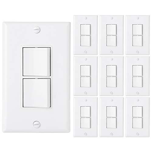 ([10 Pack] BESTTEN AC Combination Light Switch, Single-Pole Double ON/Off Interrupter, 15A 120/277V, Dual Control Paddle Rocker, Grounding, Residential & Commercial Grade, Wall Plate Included,)