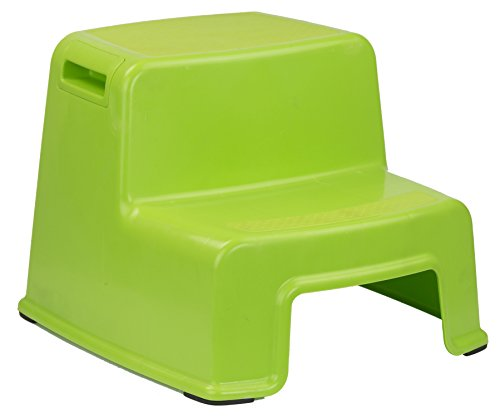Home Basics 2 Tier Step Stool with Rubber Top (Green)