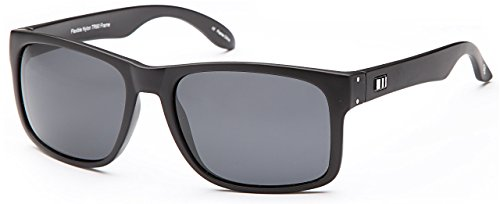 Stealth Polarized Mirror - Gamma Ray Stealth Polarized UV400 Flat Black Updated Square Classic Sunglasses in Shatterproof Nylon Frame