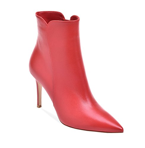 Zip Heel Booties Side High Toe Ladies Ankle Winter Boots Pointed Red Womens Soireelady qwPIzt