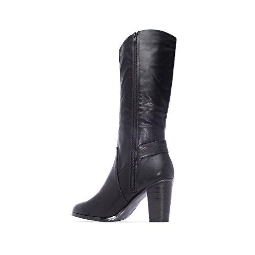 b2d819a6b7f806 ANDRES MACHADO Damen Stiefel Schwarz Schuhe in Übergrößen