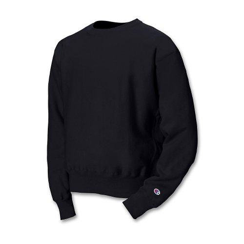Champion Men's Men' Reverse Weave Fleece Crew, Black, Large