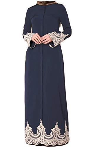 Vestito Blu Pizzo Abaya Mogogo Maxi Lungo Patchwork Musulmano Fibbia Islamico Delle Donne Navy n0SwSqxz
