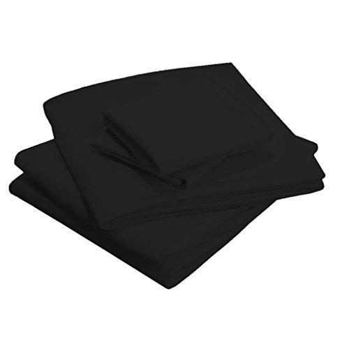 Scalabedding 58,4 cm Poche profonde 100% coton égypcravaten 400 fils Twin-xl solide de lit Noir