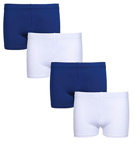 'Only Girls Active Playground School Uniform Dance Shorts, Navy, Navy, White, White, Medium - 7/8 - 4 Pack'