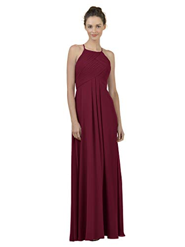 Alicepub Long Chiffon Bridesmaid Dress Maxi Evening Gown A Line Plus Party Dress, Jester Red, US8