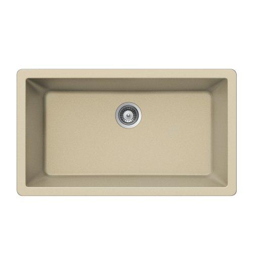 Houzer V-100U SAND Quartztone Series Granite Undermount Large Single Bowl Kitchen Sink, Biscuit