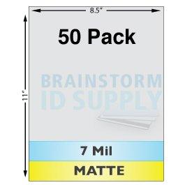 7 Mil Matte Full Sheet Laminates - 50 Pack