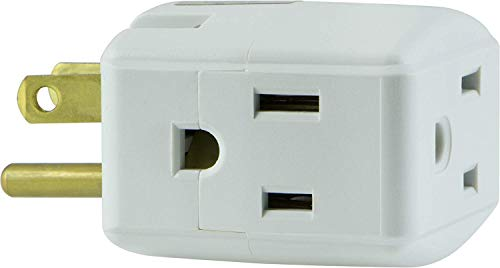 General Electric 58368 5 Pack 3-Grounded Outlet Adapter, White