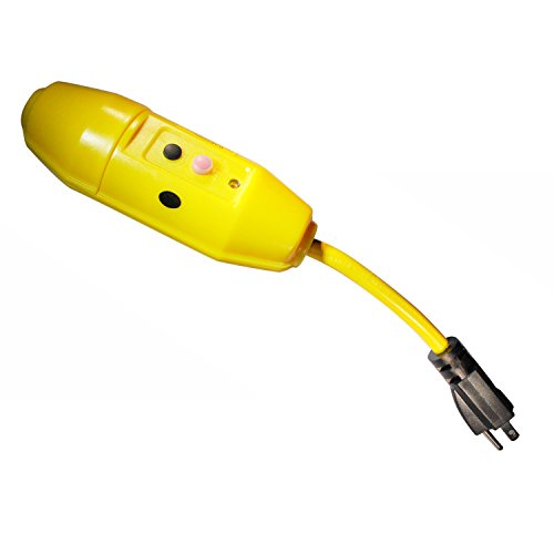 (Tower Manufacturing 30396029-08 Manual-Reset 15 AMP Inline GFCI Plug, Yellow)