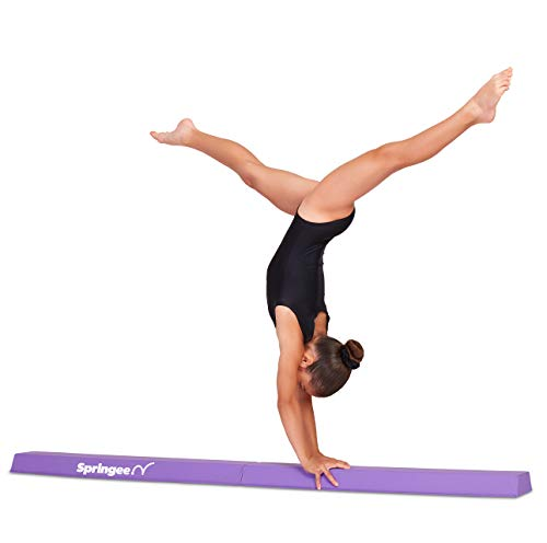 Beam Balance - Springee 6ft Balance Beam - Extra Firm - Vinyl Folding Gymnastics Beam for Home - Purple