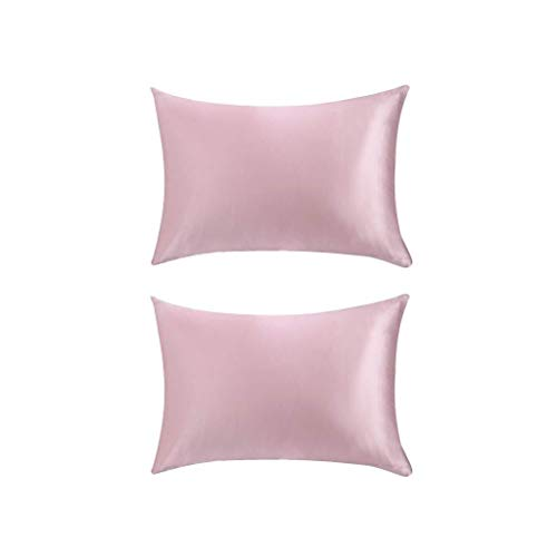 YGD Perfect Luxury Pillow - The Best Sleep Guarantee, 2Pcs Pink Natural Silk Pillowcase Pure Silk Pillow Cover for Hair and Skin Anti Wrinkle Zipper Closure Queen Size