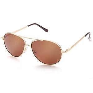 Aviator Sunglasses for Kids Girls Boys Children, Gold Metal Frame, Brown Lens, Lightweight