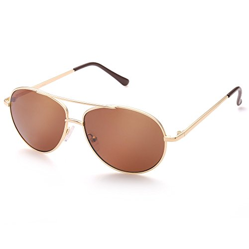 Aviator Sunglasses for Kids Girls Boys Children, Gold Metal Frame, Brown Lens, Lightweight