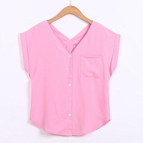 di Lino Magliette Casuale Le di Camicetta Tasca Maglia Corte Rcool Moda Collo Donna Cotone Maniche Top Una sopra Rosa Camicia 0pqYwIEn