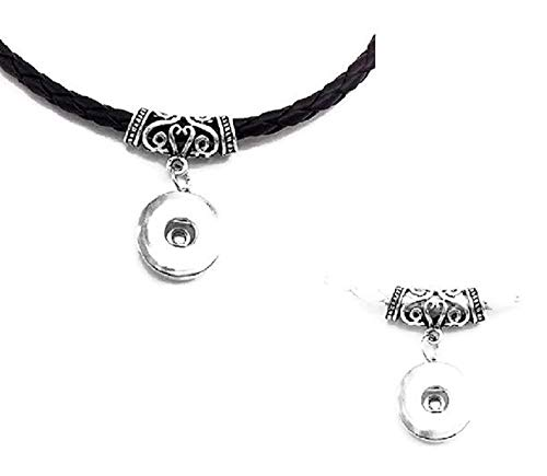 Pizazz Studios Leather Snap Charm Magnetic Clasp Necklace (Both Black and White)